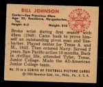 1950 Bowman #72  Bill Johnson  Back Thumbnail