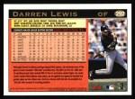 1997 Topps #292  Darren Lewis  Back Thumbnail