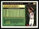 1997 Topps #142  Luis Gonzalez  Back Thumbnail