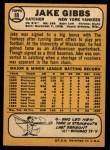 1968 Topps #89  Jake Gibbs  Back Thumbnail