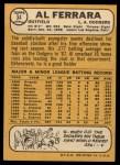 1968 Topps #34   Al Ferrara Back Thumbnail