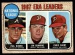 1968 Topps #7  NL ERA Leaders  -  Jim Bunning / Phil Niekro / Chris Short Front Thumbnail