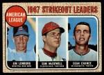 1968 Topps #12  AL Strikeout Leaders  -  Dean Chance / Jim Lonborg / Sam McDowell Front Thumbnail