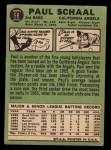 1967 Topps #58 ERR Paul Schaal  Back Thumbnail