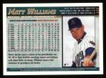 1998 Topps #439   Matt Williams Back Thumbnail