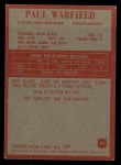 1965 Philadelphia #41  Paul Warfield  Back Thumbnail