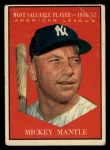 1961 Topps #475  Most Valuable Player  -  Mickey Mantle Front Thumbnail