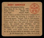 1950 Bowman #121  Andy Seminick  Back Thumbnail