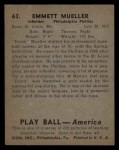 1939 Play Ball #63   Heinie Mueller Back Thumbnail