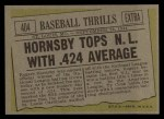 1961 Topps #404   -  Rogers Hornsby Hornsby Tops NL With .424 Average Back Thumbnail