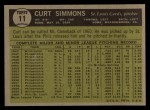 1961 Topps #11 ERR Curt Simmons  Back Thumbnail