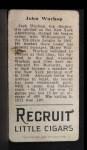 1912 T207 #192  Jack Warhop    Back Thumbnail