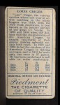 1911 T205 #42  Lou Criger  Back Thumbnail
