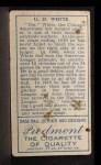 1911 T205 #200  Doc White    Back Thumbnail