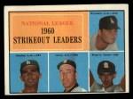 1961 Topps #49  NL Strikeout Leaders  -  Don Drysdale / Sandy Koufax / Ernie Broglio / Sam Jones Front Thumbnail