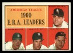 1961 Topps #46  AL ERA Leaders  -  Jim Bunning / Frank Baumann / Hal Brown / Art Ditmar Front Thumbnail