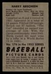 1952 Bowman #176   Harry Brecheen Back Thumbnail