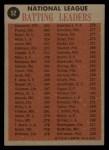1962 Topps #52  NL Batting Leaders  -  Roberto Clemente / Vada Pinson / Ken Boyer / Wally Moon Back Thumbnail