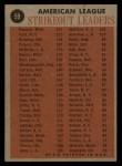 1962 Topps #59   -  Camilo Pascual / Whitey Ford / Jim Bunning / Juan Pizarro AL Strikeout Leaders Back Thumbnail