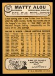 1968 Topps #270  Matty Alou  Back Thumbnail