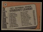 1972 Topps #95  NL Strikeout Leaders    -  Fergie Jenkins / Tom Seaver / Bil Stoneman Back Thumbnail