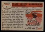 1956 Topps #3   Frank Varrichione Back Thumbnail