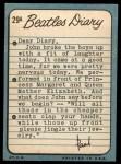 1964 Topps Beatles Diary #29 A  Paul McCartney Back Thumbnail