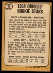1968 Topps #56  Orioles Rookies  -  Dave Leonhard / Dave May Back Thumbnail