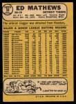 1968 Topps #58   Eddie Mathews Back Thumbnail