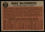 1962 Topps #319  McCormick Shows His Stuff  -  Mike McCormick Back Thumbnail