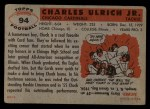 1956 Topps #94  Chuck Ulrich  Back Thumbnail