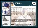 2001 Topps #411   Greg Zaun Back Thumbnail