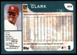 2001 Topps #104  Will Clark  Back Thumbnail