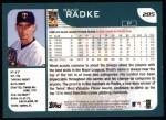 2001 Topps #285  Brad Radke  Back Thumbnail