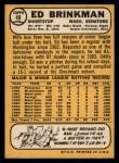 1968 Topps #49 WT  Ed Brinkman Back Thumbnail