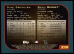 2001 Topps #359  Mike Stodolka / Sean Burnett  Back Thumbnail