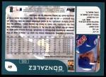 2001 Topps #81  Alex Gonzalez  Back Thumbnail