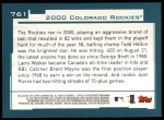 2001 Topps #761   Colorado Rockies Team Back Thumbnail