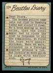 1964 Topps Beatles Diary #17 A George Harrison  Back Thumbnail