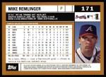 2002 Topps #171  Mike Remlinger  Back Thumbnail