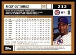 2002 Topps #212   Ricky Gutierrez Back Thumbnail