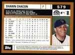 2002 Topps #579   Shawn Chacon Back Thumbnail