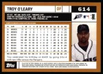 2002 Topps #614  Troy O'Leary  Back Thumbnail