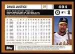 2002 Topps #404   David Justice Back Thumbnail