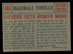 1959 Topps #465   -  Roy Sievers Sievers Sets Homer Mark Back Thumbnail