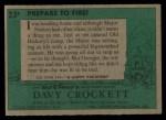 1956 Topps Davy Crockett #23 GRN  Prepare To Fire!  Back Thumbnail