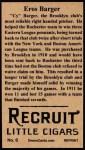 1912 T207 Reprints #6    Eros Cy Barger Back Thumbnail