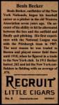 1912 T207 Reprints #9   Beals Becker Back Thumbnail