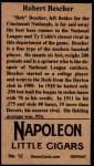 1912 T207 Reprints #12  Bob Bescher  Back Thumbnail