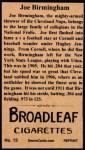1912 T207 Reprints #13   Joe Birmingham Back Thumbnail